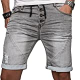 Sublevel Herren Jogg Jeans Shorts kurze Hose Bermuda Sommer Short Sweathose Slim [B112 - Grau mit Knopfleiste - W33]