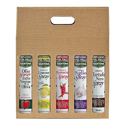 Confezione 5 x 250 ml spray: olio extravergine d'oliva, condimento al limone, al peperoncino, all'aglio e al tartufo