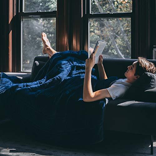 "Ultra Plush 100% Oeko-Tex Certified Minky Weighted Blanket -Great for Winter | Minky Warm Luxury - (60""x80"", 20 lb) | Designer Blanket | One Piece Construction | Enjoy Quality Sleep Anywhere"