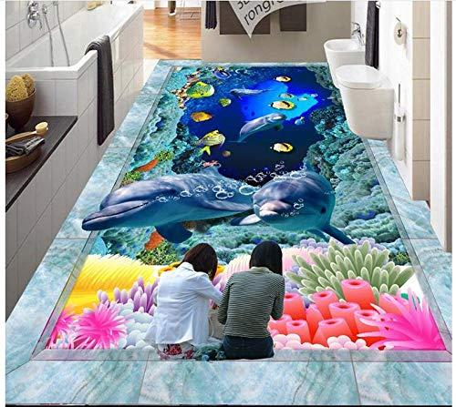 Papel tapiz 3d personalizado pintura de pisos 3d murales de papel tapiz hd 3 d ocean world dolphin piso de baldosas pintura de piso foto wallpaper-350 * 275cm