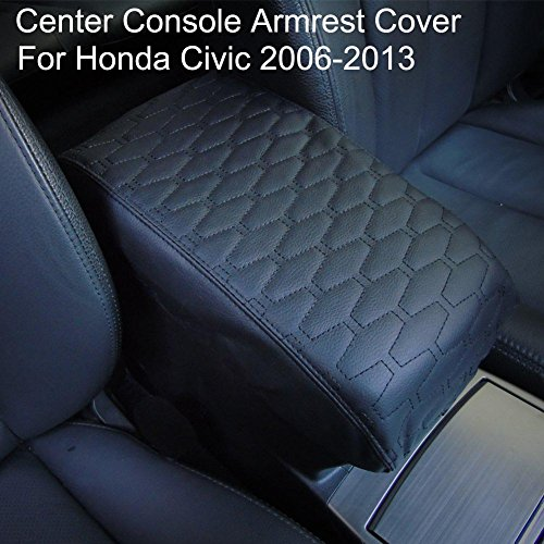 Big Ant Center Console Armrest Cover with PU Leather for Honda Civic 2006-2013 Protects Old Consoles from Dirt and Damage Old Damaged Consoles(Black)
