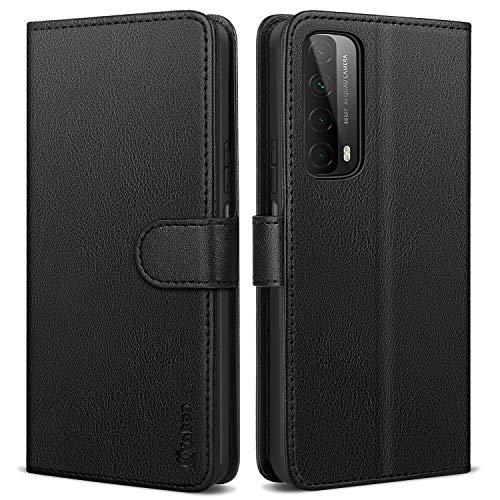 Vakoo Handyhülle für Huawei P Smart 2021 Hülle, Premium Leder Tasche Flip Hülle Brieftasche kompatibel mit Huawei P Smart 2021 Handyhülle, Schwarz