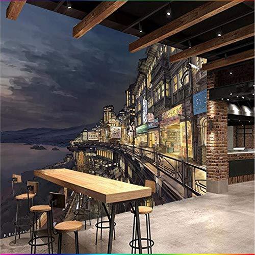 Cualquier Papel Pintado Mural Pintado A Mano Dibujos Animados Japonés Calle De Osaka Calle Cocina Japonesa Fondo Papel De Pared W400xH280CM