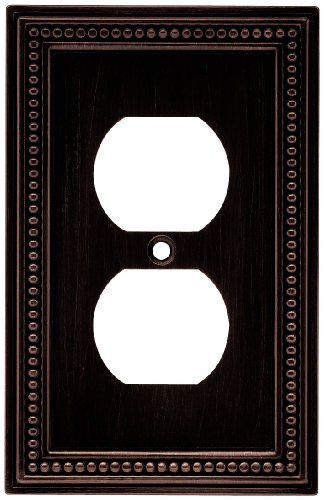 Brainerd 64410 Beaded Single Duplex Outlet Wall Plate / Switch Plate / Cover, Venetian Bronze