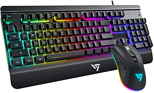Gaming Keyboard and Mouse Combo Wired PC Gaming Keyboards, Light Up Keyboard and Mouse LED Backlit, Silent Metal Keyboard Palm Rest, PC PS4 Xbox Gamer - Matte Black