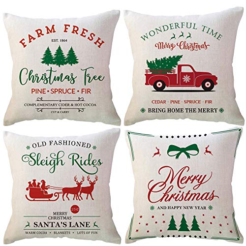 ULOVE LOVE YOURSELF Winter Holiday Rustic Throw Pillow Cases 18x18 Inches Farm Fresh Christmas Tree Red Truck Farmhouse Christmas Decorations Square Cushion Pillowcases,Set of 4 for Sofa Couch
