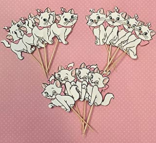 Marie cupcake toppers, Aristocat inspired toppers, Marie cat decorations