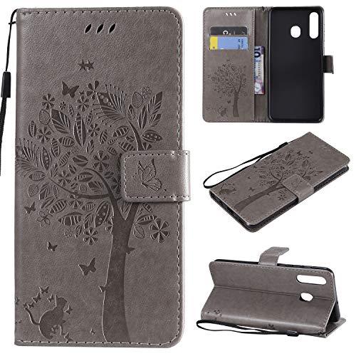 nancencen Hülle Kompatibel mit Samsung Galaxy A8S, Flip-Hülle Handytasche - Standfunktion Brieftasche & Kartenfächern - Baum & Katze - Gray