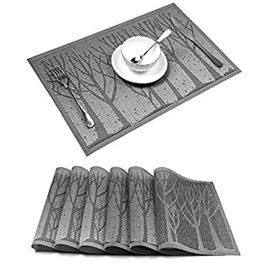 Placemat,U'Artlines Crossweave Woven Vinyl Non-slip Insulation Placemat Washable Table Mats Set (6pcs placemats, Grey tree)