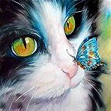 5d Diamond Painting por NúMero Kit, Animal gato y mariposa Bricolaje Diamond Pasted Painting, Adultos NiñOs Cristal Rhinestone Mosaic Artes para DecoracióN Pared Hogar Square Drill 30x30cm(12x12in)