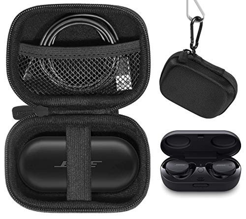CaseSack case for Bose Sport Earbuds and QuietComfort Noise Cancelling Earbuds - True Wireless Earphones, Mesh Accessories Pocket, Compact Consolidation Carrying case (Black)
