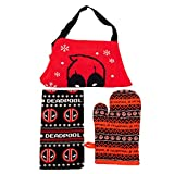 Bioworld Marvel Deadpool Holiday Kitchen Textile Set of 3: Apron, Dish Towel and Oven Mitt