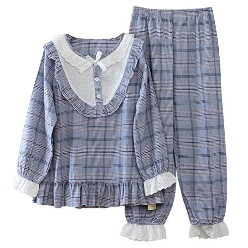 ZHOUBIN Damen Pyjama Set Niedlicher Rundhals-Pyjama aus Baumwolle, blau, M. Schlafanzug nachtwäsche weich Damen weich Hausanzug Lounge Sets Zweiteilige Winter warm