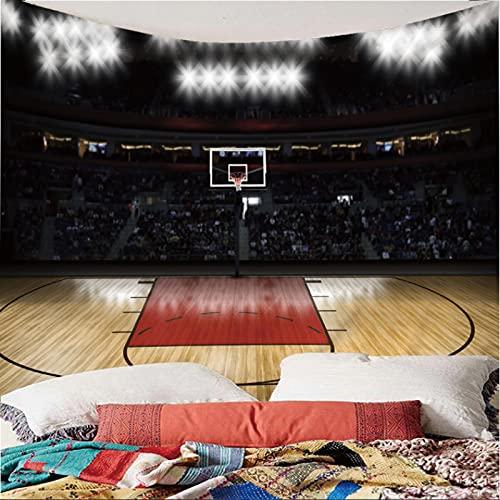 Weibing Tapiz de impresión en Color 3D, patrón de cancha de Baloncesto Interior de Estilo Moderno, decoración Colgante de Pared para Dormitorio, Sala de Estar 240(An) x220(H) cm