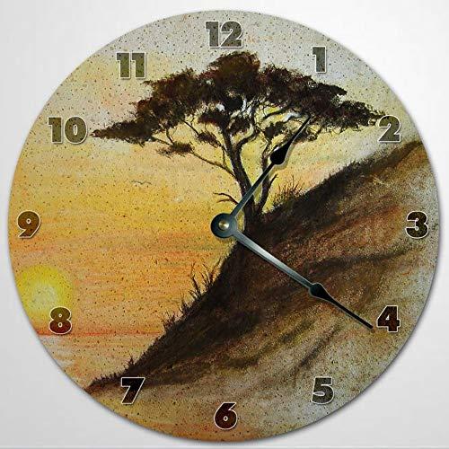 Reloj de pared con diseño de árbol en el acantilado, reloj de pared de madera de 30,5 cm, funciona con pilas, decoración de pared de granja
