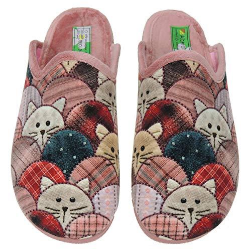 Zapatillas Casa Mujer Invierno Divertidas - Chinelas destalonadas - Marca [Alberola] - Gatos - Suapel SALMÓN Talla 37