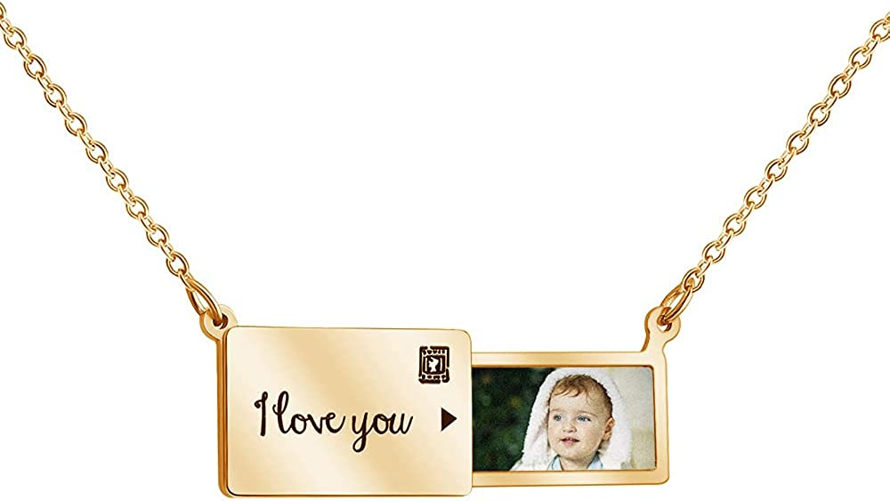 Personalized custom pull-out envelope necklace, fashion holiday gift stainless steel letter clavicle chain, gift for family and lover.