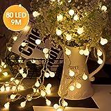 LOHAS Guirlande Lumineuses Boules 80 LED Lumières, 9M Chaîne Eclairage Lampe Etanche versez,Décoration de Noël, Halloween, Mariage,Anniversaire, Maison,Jardin,Pâques,Terrasse,Pelouse (Blanc Chaud)