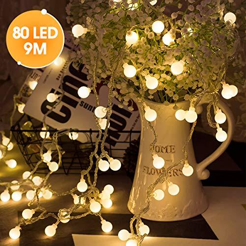 LED Lichterkette, LOHAS Halloween Geist Lichterkette, Warmweiß Deko Lichterkette, 9 Meters, 80LEDs Geist Licht, USB-Stromversorgung, Geist IP42 fur Innen-/draussen, Lichterketten für Zimmer, 1er Pack