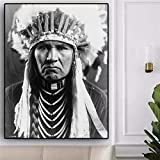 Indian Man Feather Portrait Pop Art Canvas Poster y Mural Art para Sala de Estar decoración del hogar,Pintura sin Marco,60x90cm