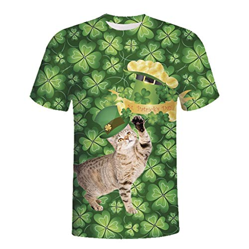 Cuteelf Karnevalsparty Fancy Festival Zubehör,Herren St. Patrick's Day Sommer Print Kurzarm Top Bluse T-Shirt Mens Printed 3D Print Lässige Kurzarm Shirt Top Bluse