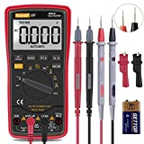 Auto Ranging Digital Multimeter TRMS 6000 with Battery Alligator Clips Test Leads AC/DC Voltage/Account,Voltage Alert, Amp/Ohm/Volt Multi Tester/Diode (Red)