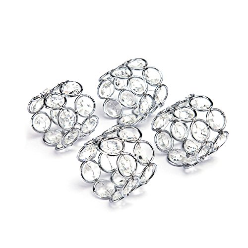 Feyarl Silver Crystal Napkin Rings Handcraft Sparkly Napkin Rings Napkin Holders for Wedding Centerpieces Special Occasions Celebration Romantic Candlelit Banquet Festival Decoration