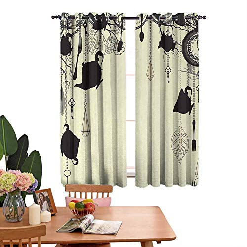 Insulated solid grommet top living room darkening curtains Vintage Tea Party Diamond Figures Forks Spoons Cups Leaves Tree Branch Art Prevent Light from Shining Avocado Green Black W55'x L72'