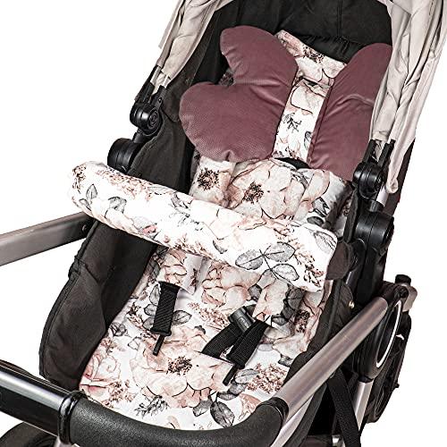 Cojín asiento cojín cochecito - cojín buggy cojín asiento para asiento infantil transpirable conjunto universal con protección cinturón reposacabezas 75x35 cm (Rosa Empolvado - Rosa Salvaje)