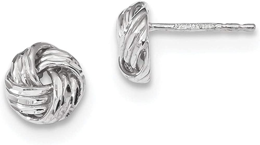 14k White Gold Love Knot Post Stud Earrings Ball Button Fine Jewelry For Women Gifts For Her