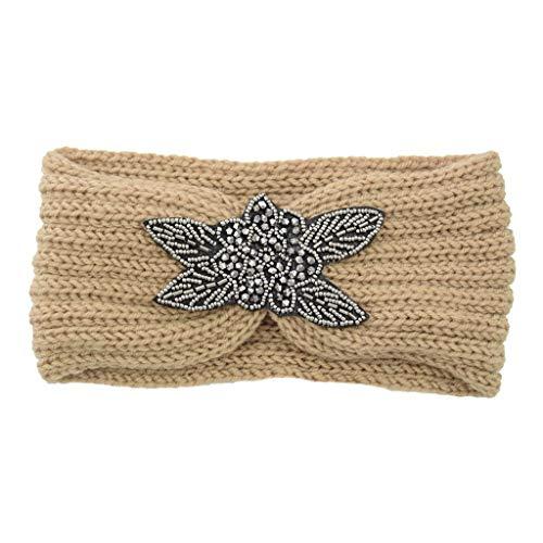 jieGorge Fashion Women Thermal Hand Knitting Wool Head Hairband Sweet Girls Hair Hairband, Headband, Clothing Shoes & Accessories (Beige)
