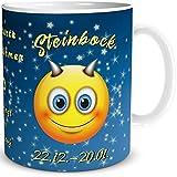 Tasse Smiley mit Spruch lustig Sternzeichen Steinbock Geburtstagstasse Geschenk für Frauen Männer Kollegen Geburtstag