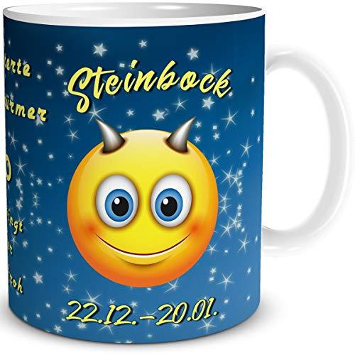 TRIOSK Tasse Smiley mit Spruch lustig Sternzeichen Steinbock Geburtstagstasse Geschenk für Frauen Männer Arbeit Büro Kollegen Geburtstag