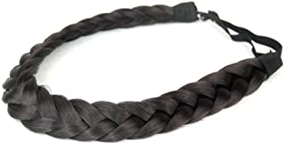 BOBIYA 2 Strands Synthetic Hair Braided Headband Classic Chunky Plaited Braids Elastic Stretch Hairpiece for Women Girl Beauty Accessory,  54g (Natural Black)