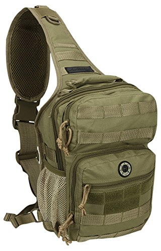 Nexpak USA TL312TAN Tan Tactical Gear Molle Hydration Ready Outdoor Sling Shoulder Strap Bag + Carabiner