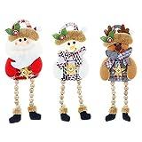 3 Piezas de Papá Noel Muñeco de Nieve Reno Sentado de Navidad Adorno de Navidad Piernas Largas Navidad Muñecos de Felpa Adornos de Mesa Chimenea Decoración de Hogar Figurines de Navidad de Felpa