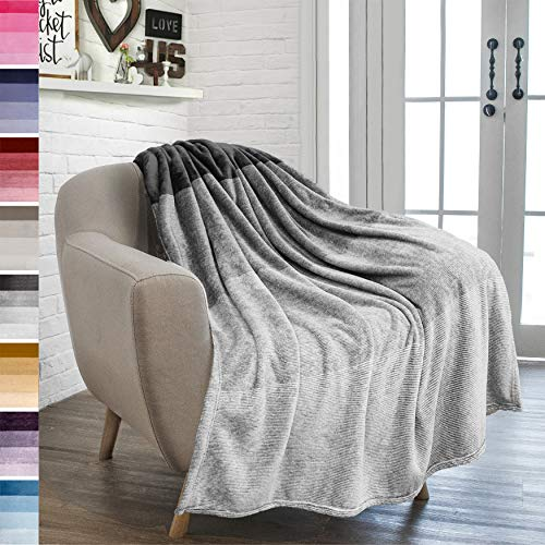 PAVILIA Flannel Fleece Ombre Throw Blanket for Couch | Soft Cozy Microfiber Couch Gradient Accent Blanket | Warm Lightweight Blanket for Sofa Chair Bed | All Season 50x60 Inches Light Gray