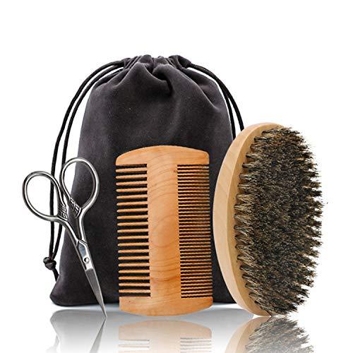 ZEEWIZZ Bartpflege & Trimm-Set für Männer – Bartbürste, Bartkamm, Bartschärfer, Friseurschere zum Stylen, Formen & Wachstum, Geschenkset