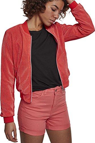 Urban Classics Damen Short Pleated Blouson Jacke, Pink (Coral 00092), Medium