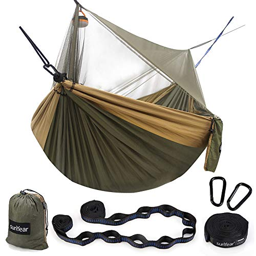 Sunyear Hammock Camping with Bug Net/Netting amp 2 Tree Straps 161 Loops Each20Ft Total Portable Nylon Parachute Hammocks for Outdoor Indoor Backpacking Survival amp Travel