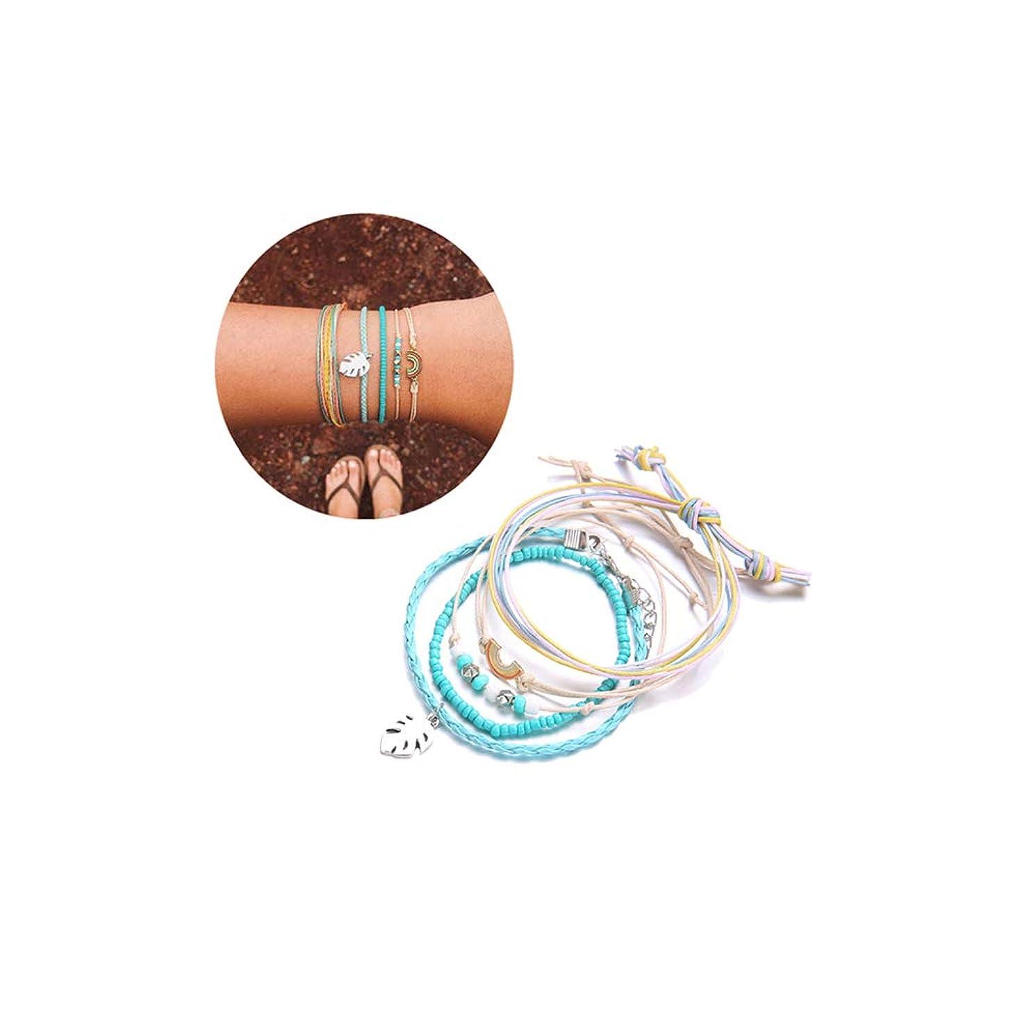 ASHMITA Summer Wave Strand Bracelet Girls Bohemian Bracelet Adjustable Handmade Waterproof Wax Coated Braided Rope Set