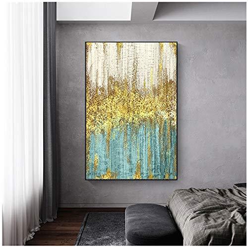 HYY-YY Oro y Geeen Decoración Vertical Arte de la Pared Cuadros Decoración Moderna para el hogar Pintura en Lienzo Impreso en Lienzo Carteles Impresiones 19.6'x 29.5' (50x75 cm) Sin Marco