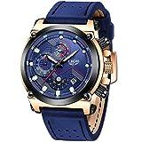 LIGE Hombre Relojes Moda Negocio Analogicos Cuarzo Relojes Hombre Casual Clásico Azul Cuero Relojes