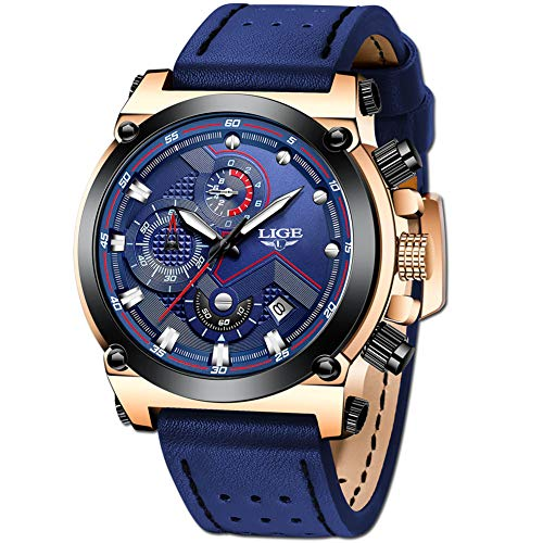 LIGE Men's Watch Luxury Fashion Analog Quartz Watch Men Business Dress Leisure Blue Leather Wrist Watches