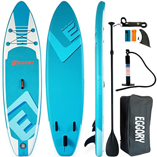 """Eggory Inflatable Paddle Board Stand Up Paddle Board SUP in Size 10'×31""""×6"""" ISUP Max Load 4 Person"""