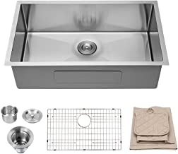 Lordear 32 Inch Undermount Kitchen Sink 16 Gauge Deep Single Bowl R10 Tight Radius..