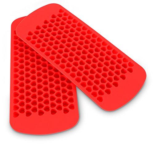 Belmalia 2X Eiswürfelform in Herzform Silikon, 2X 150 Mini Herz-Eiswürfel, Red