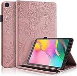 Sammili Samsung Galaxy Tab A 10.1 Hülle Flip Cover Prägung Baum Kartenschlitz Case mit Stifthalter und Gummiband Tablet Hülle für Samsung Tab A 10.1 Zoll 2019 SM-T510 / SM-T515 (Rose Gold)