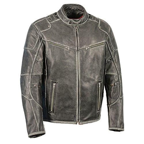 Men's Vintage Distressed Slate Leather Motorcycle Jacket w/Gun Pockets (Large)