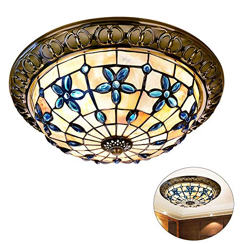 Shell Stained Glass Flush Mount Ceiling Light,Handmade Vintage Tiffany Style Ceiling Lamps,Dining Room Ceiling Lighting Fixtures,for Bedroom, Kitchen, Balcony,01,12inch